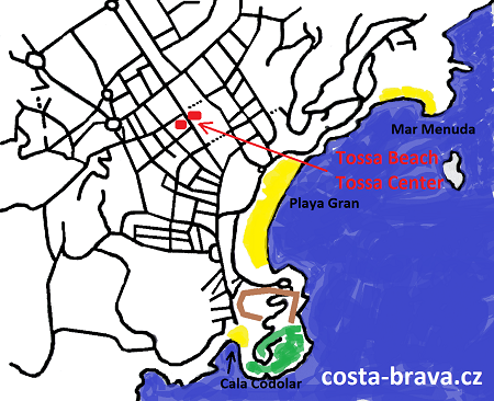 Hotely Tossa Beach / Tossa Center - mapa