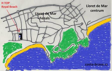 Hotel H Top Royal Beach - mapa